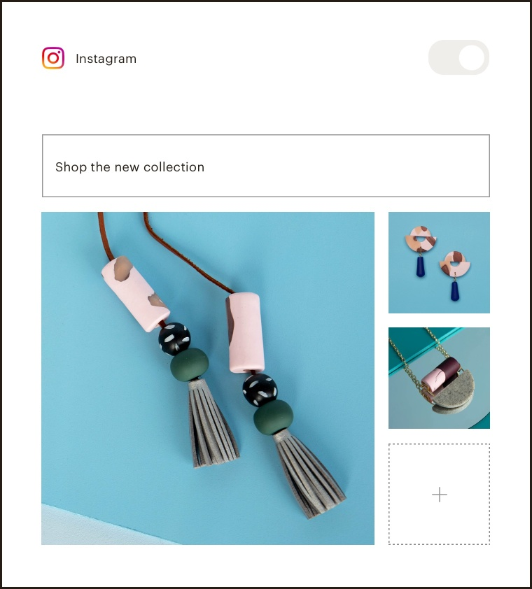 Content step of the Instagram ad builder where you add images and a headline