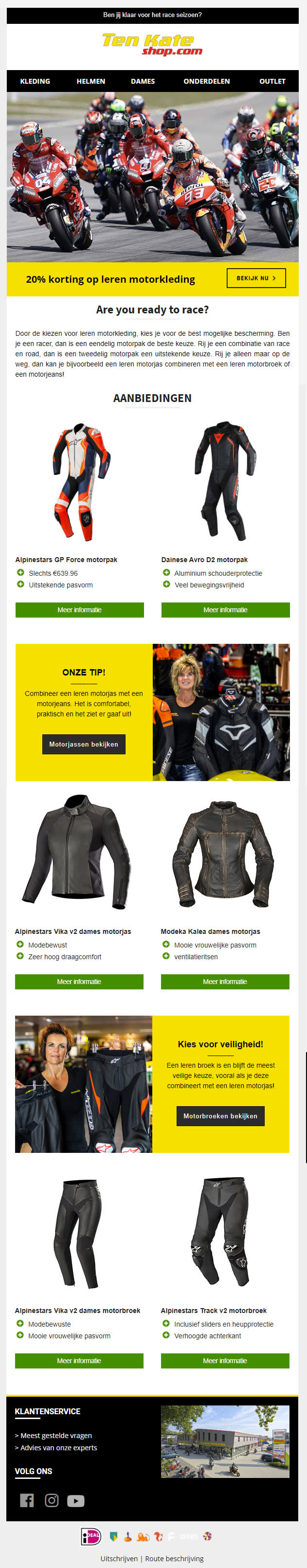Image of a website with racing gear clothing