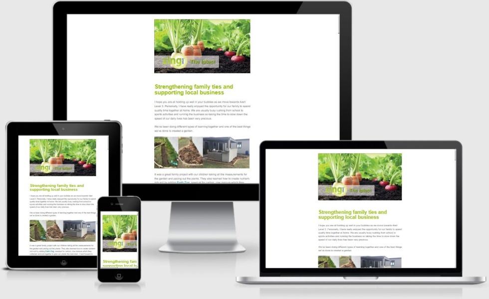 Image of Zing Bokashi Newsletter on multiple devices