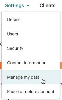 Cliques do cursor - Gerenciar meus dados - Configurações