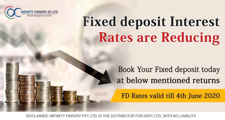 """Image of coins with text """"fixed deposit interest rates are reducing"""""""