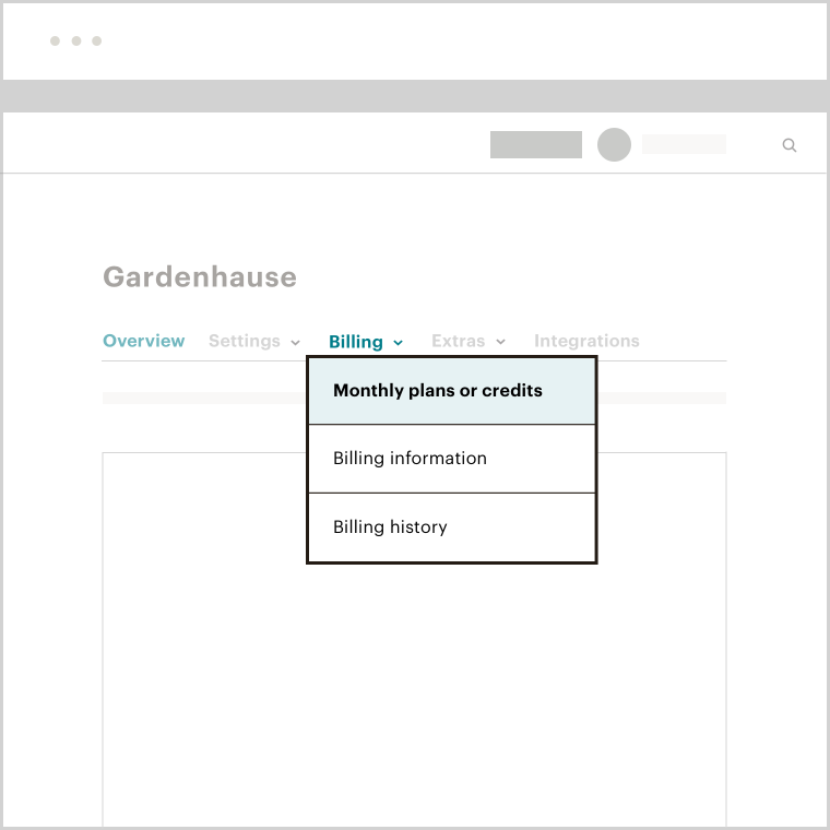 """A Mailchimp app showing the Billing dropdown menu with the """"Monthly plans or credits"""" dropdown link highlighted"""