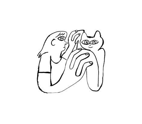 An illustration of a cat and a person holding hands.
