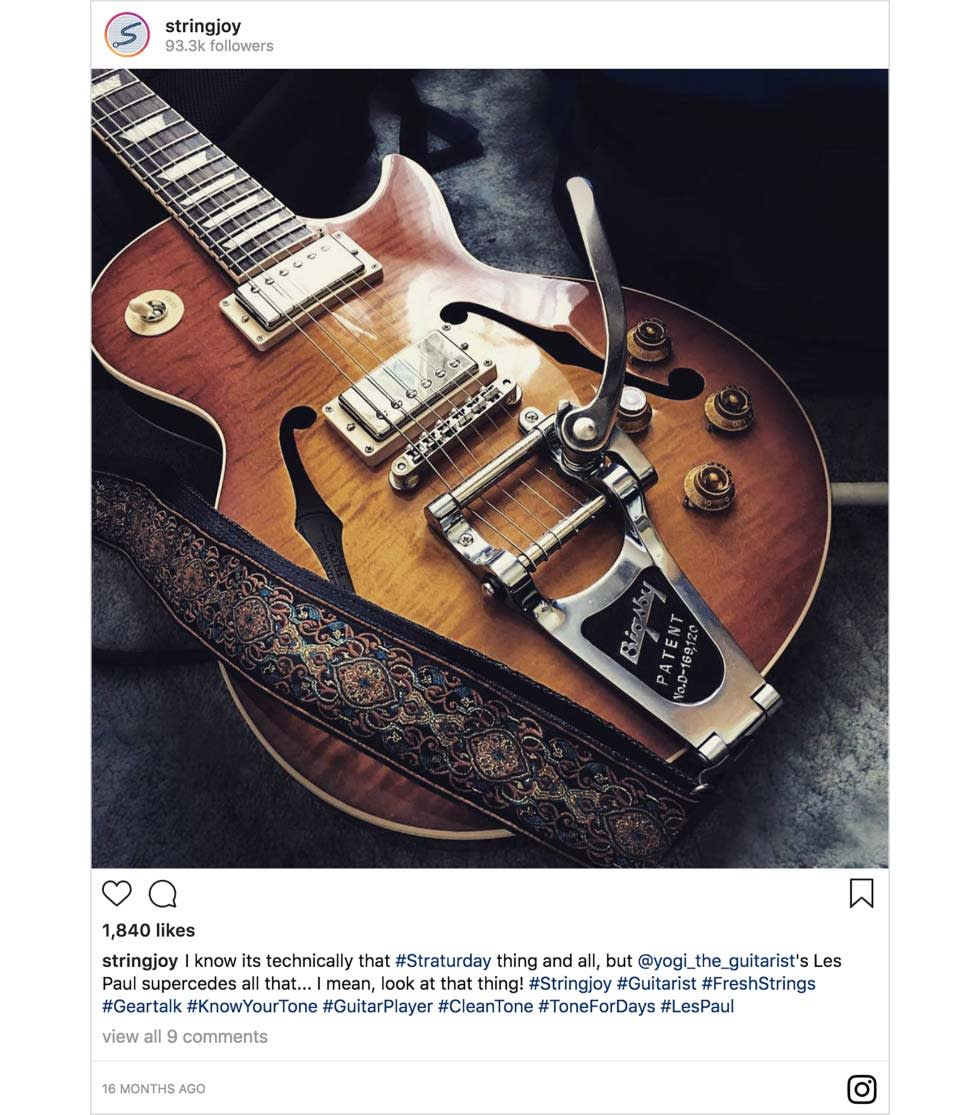 An Instagram post from Stringjoy featuring a guitar