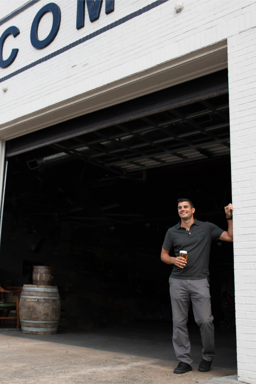 CEO Chris Herron outside of the brewery.