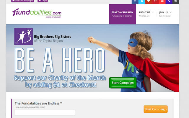 Image of Fundabilities.com web page with the text Be a hero support our charity of the month by adding $1 at checkout.