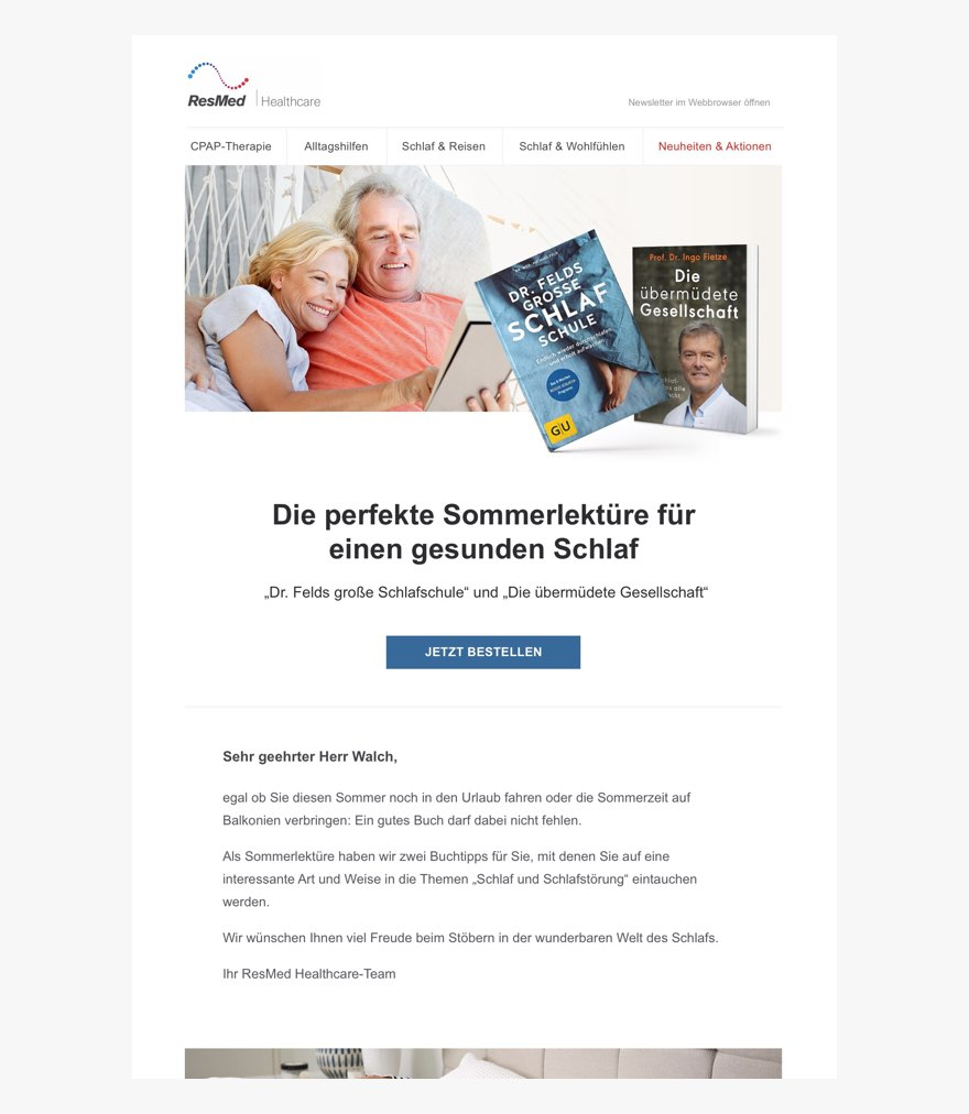 Screenshot of newsletter. Image header features happy heterosexual couple cuddling in bed and reading a book together. Two images of medical book covers on the right.