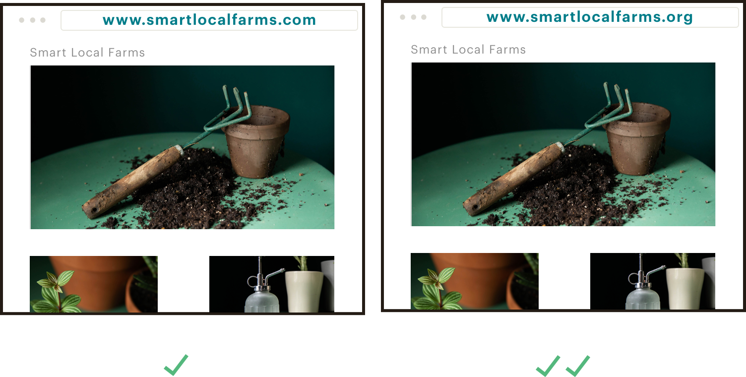 Get the best extension for your brand. Still images that highlight 2 domain options for a nonprofit's website. The image on the left shows the good option: www.smartlocalfarms.com. The image on the left shows a better option: www.smartlocalfarms.org.