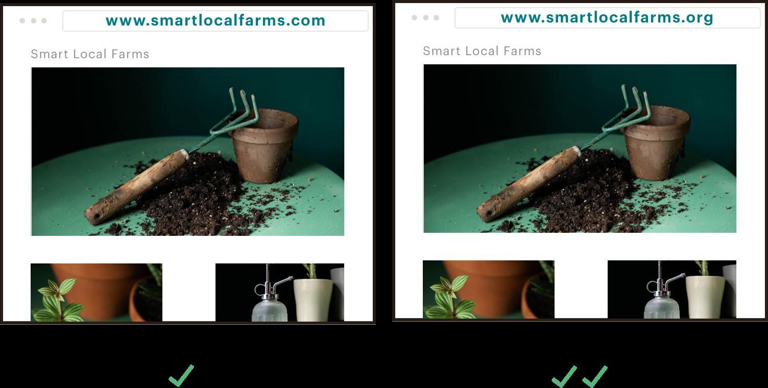 Obtén la mejor extensión para tu marca. Imágenes fijas que resaltan las 2 opciones de dominio para el sitio web de una entidad sin ánimo de lucro. La imagen de la izquierda muestra una buena opción: www.smartlocalfarms.com. La imagen de la izquierda muestra una opción mejor: www.smartlocalfarms.org.