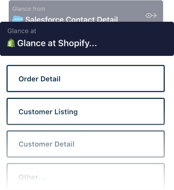 Image of Glance at shopify options with the options order detail, customer listing, and customer detail.