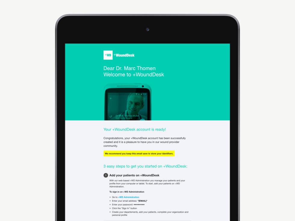 Newsletter displayed on tablet