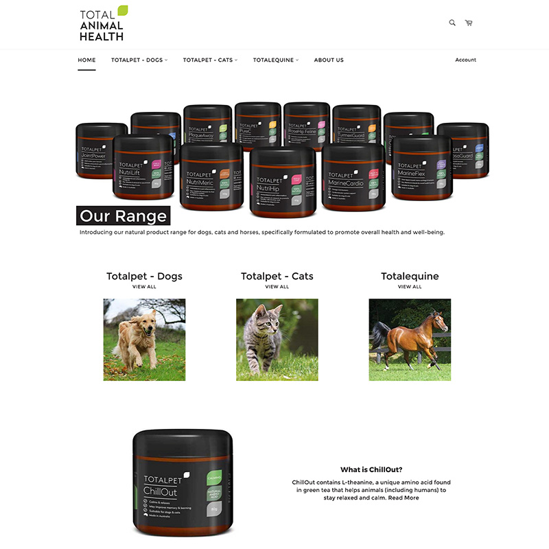 Images of containers and a dog/cat/horse and the text Total Animal Health