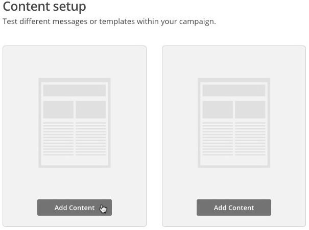 Screen of content setup page with cursor hovering over to add content to the first variation.