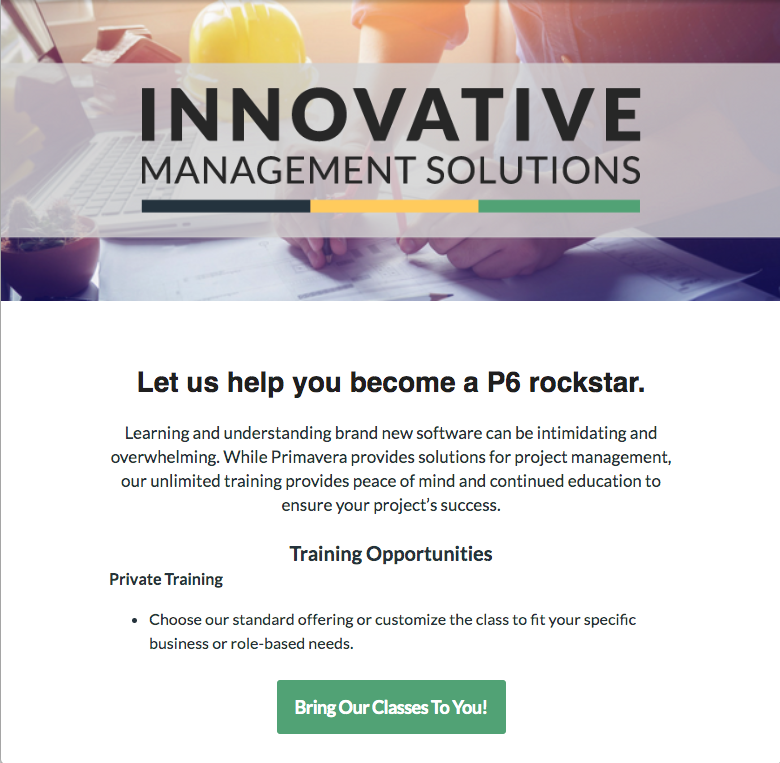 A custom email template for Innovative Management Solutions
