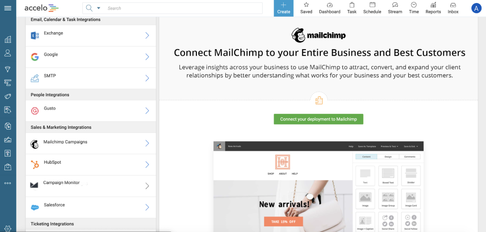 Image of Accelo dashboard with text Connect Mailchimp to your entire business and best customers