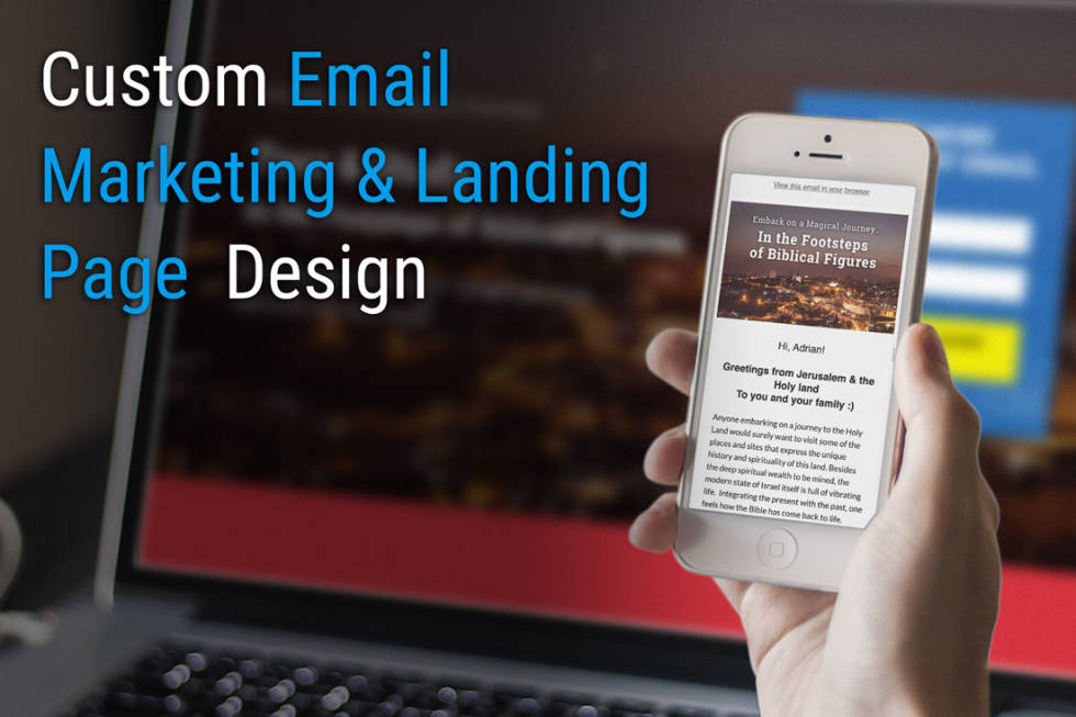 Image of someone holding a phone with the text custom email marketing and landing page design