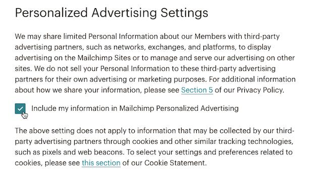 Configurações de publicidade personalizada