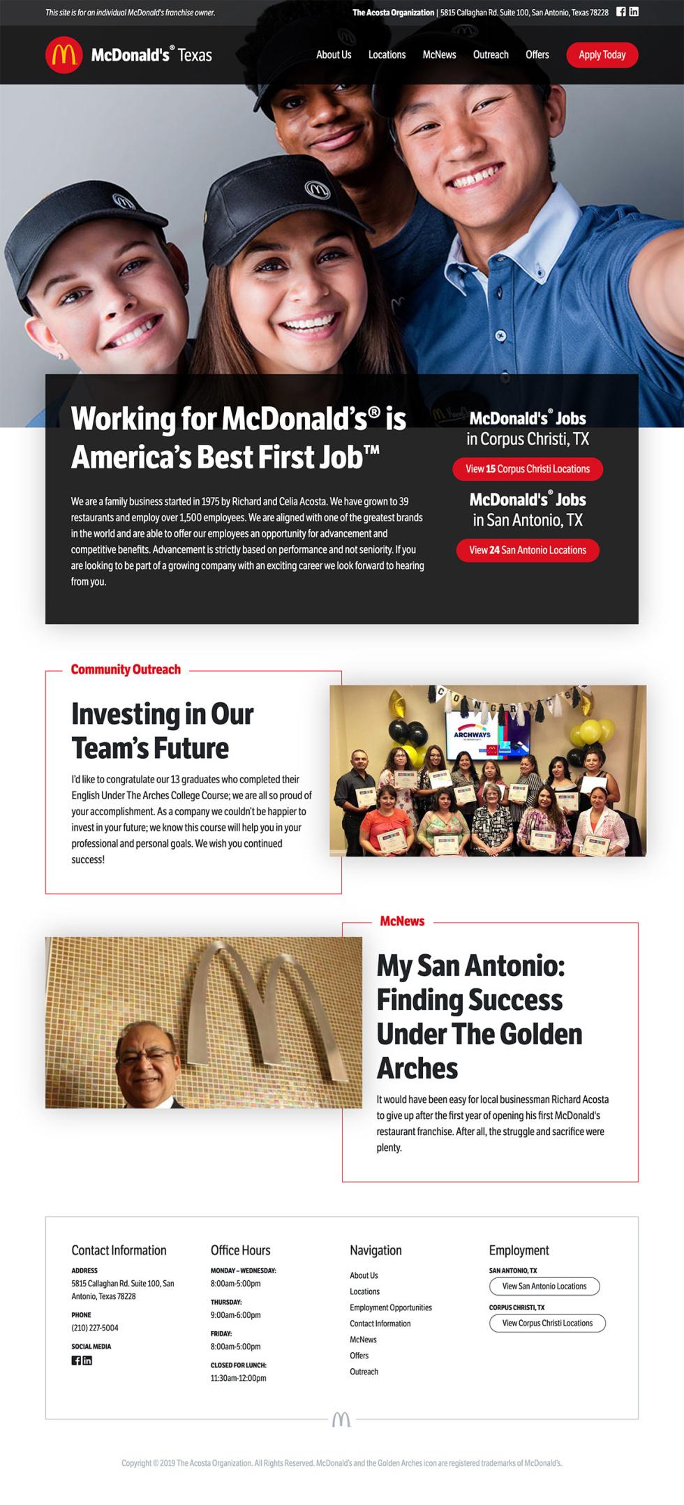 Screenshot of website design.