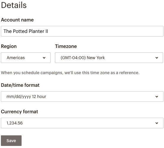Imagem de exemplo da seção principal de Detalhes da página Dados da conta