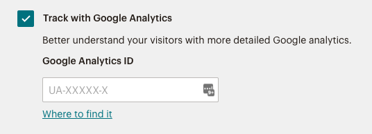 Enter your Google Analytics ID.