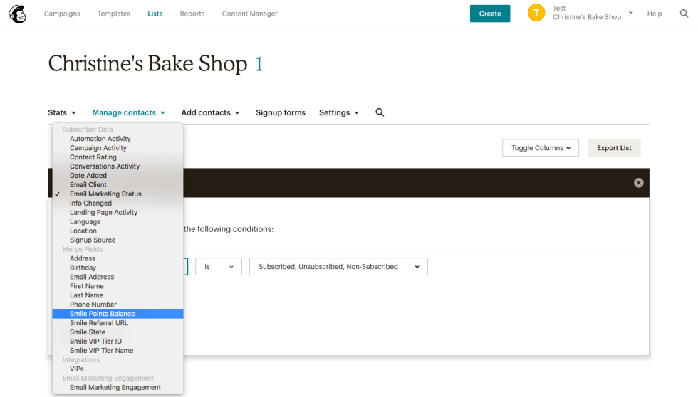 Screenshot of Mailchimp's web application