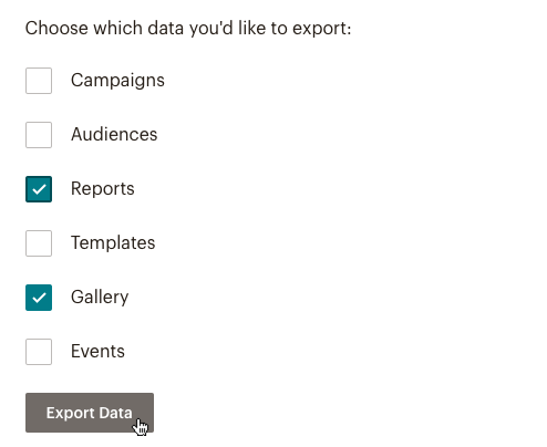 Image shows checkboxes for Campaigns, Audience, Reports, Templates, Gallery, and Events. The boxes next to Reports and Gallery are checked and the cursor is over the Export Data button.