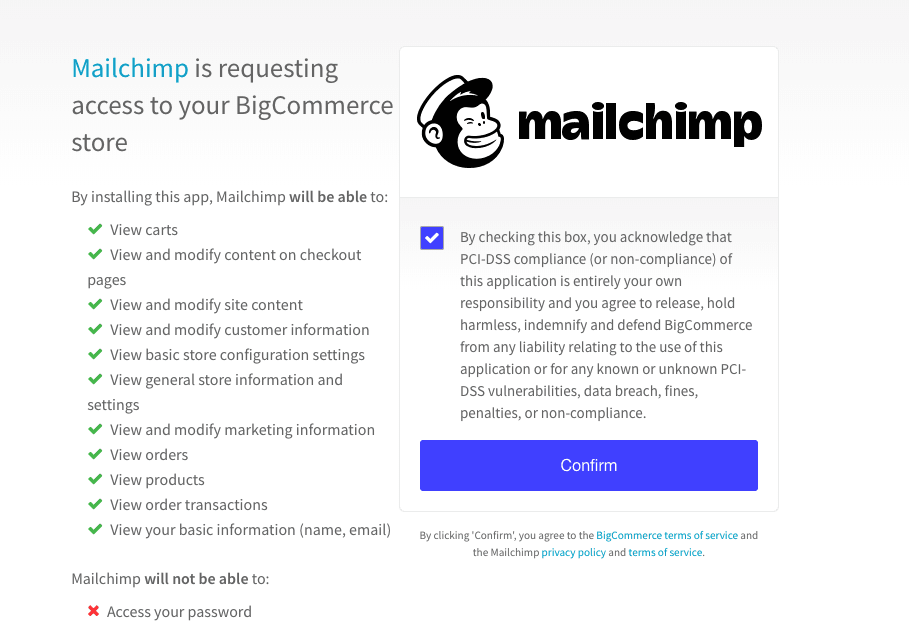 Mailchimp for BigCommerce Auth - Accept Terms