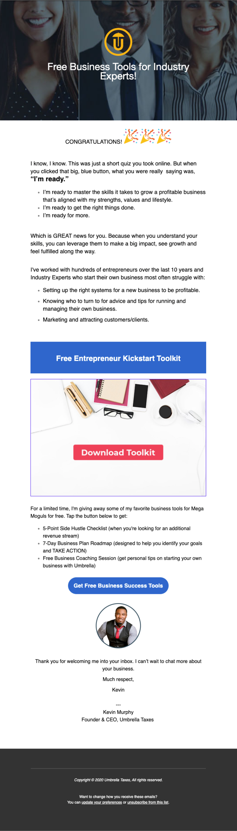 Image of newsletter for free business tools for industry leaders
