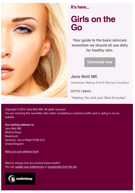 Image of Jane Mott newsletter.