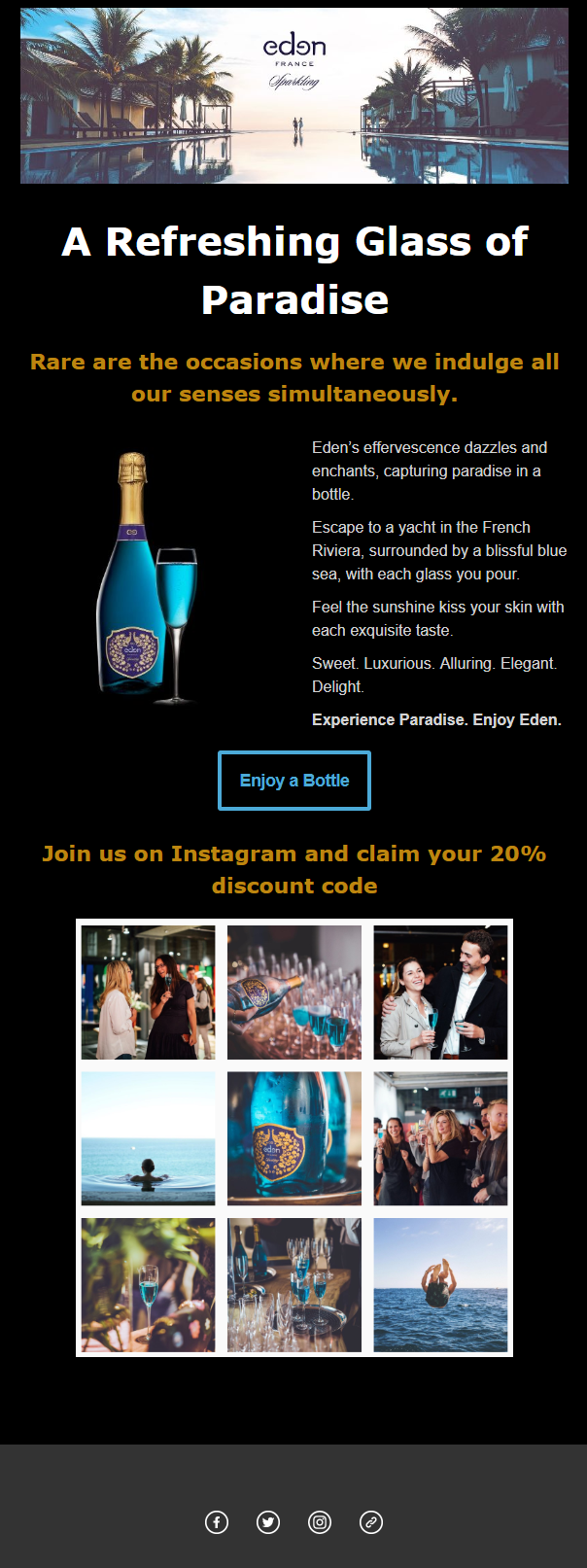 Image of ad for a bottle of wine with text a refreshing glass of paradise