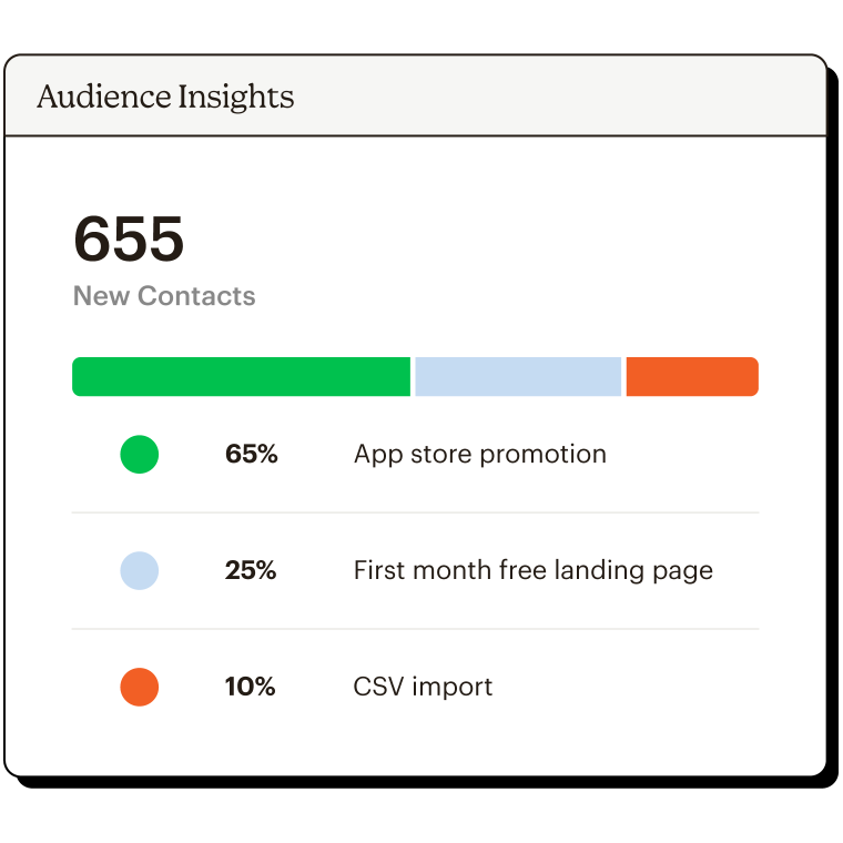 Audience insights dashboard showing recent campaign data.