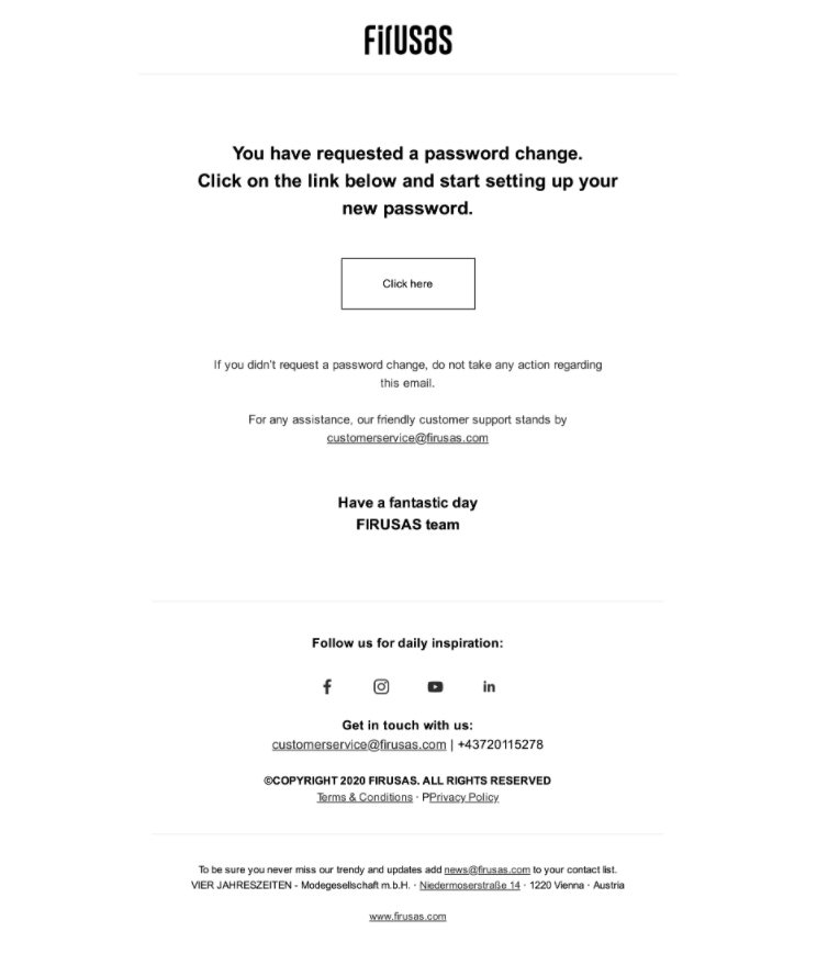 Image of Firusas password change email