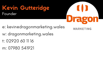 Image of Dragon marketing business card with Kevin Gutteridge information on it