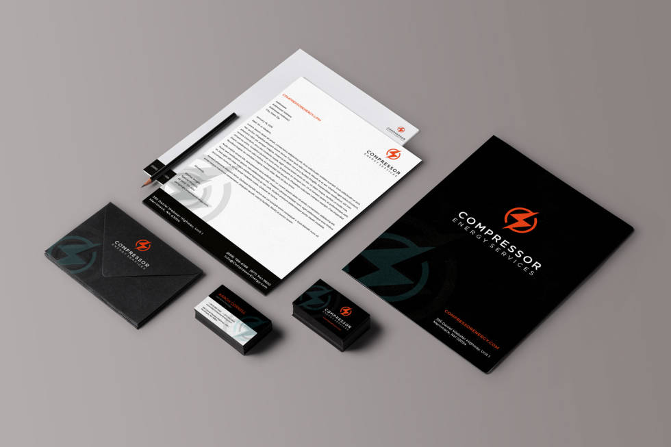 Laid out branding examples for several pieces of stationary including business cards, letters, note paper and cover letters.