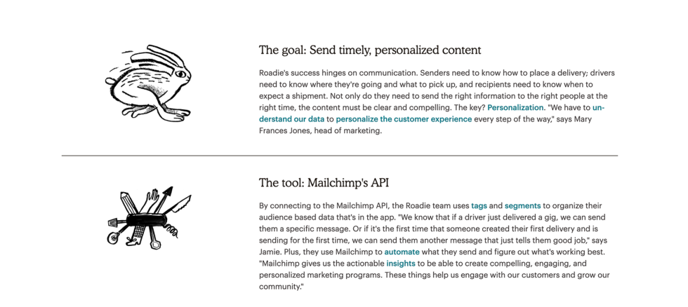 Screenshot of webpage section with two vertically stacked items, each with icon on left sidebar and headline and copy blurb on right. The headline and copy blurbs are all left-aligned to make content clean and easily readable.