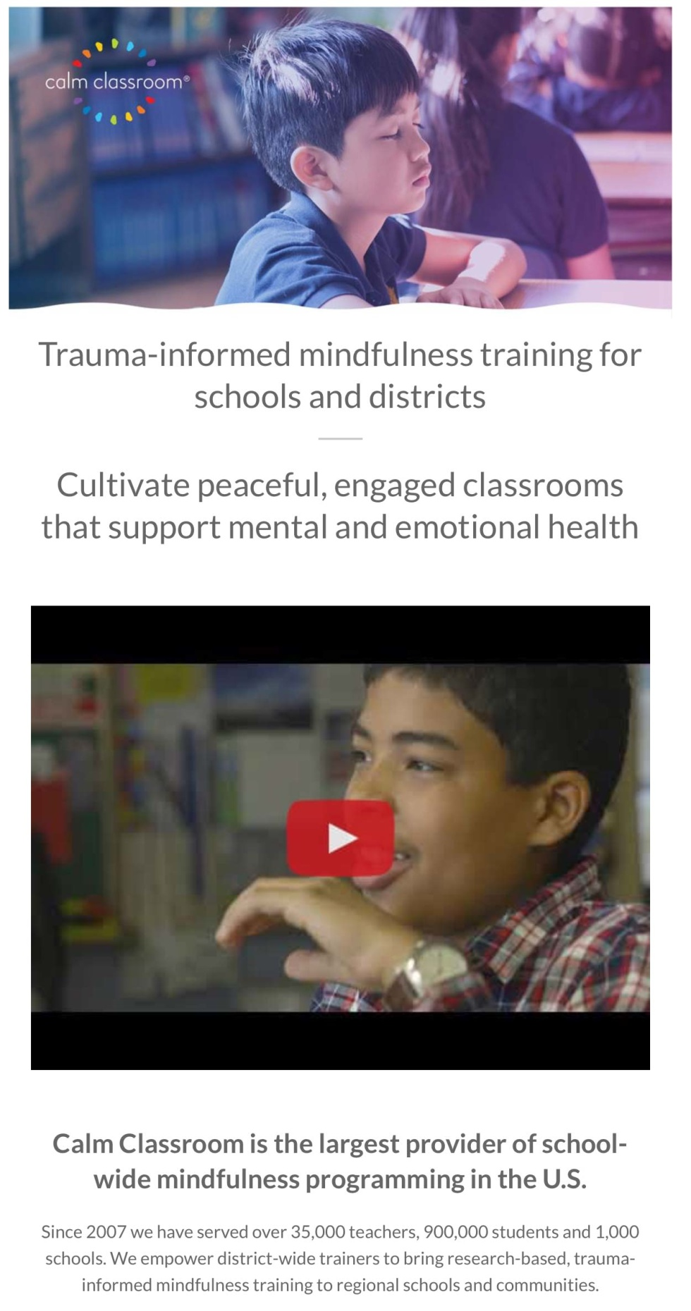 Screenshot of newsletter layout for meditation group. Features images of schoolchildren meditating and a youtube video. Several quotes in larger text in between media.