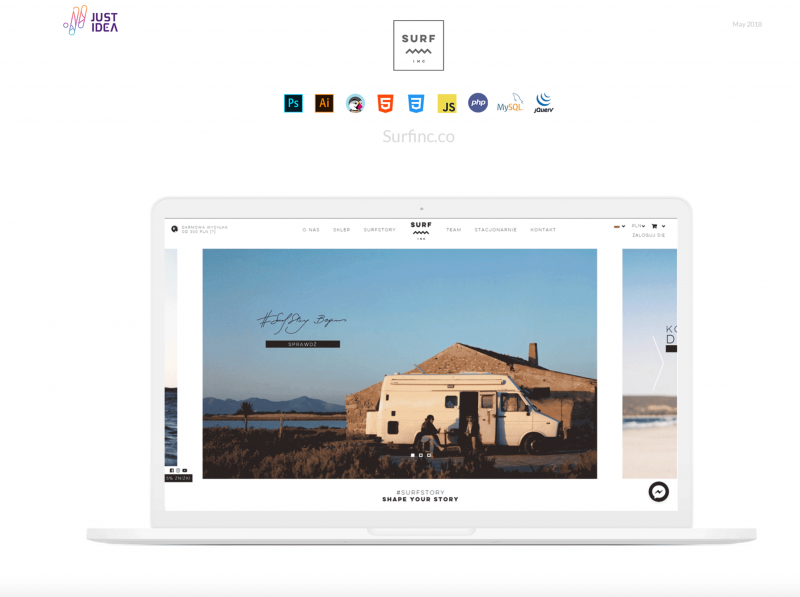 Surf website on the image of a laptop