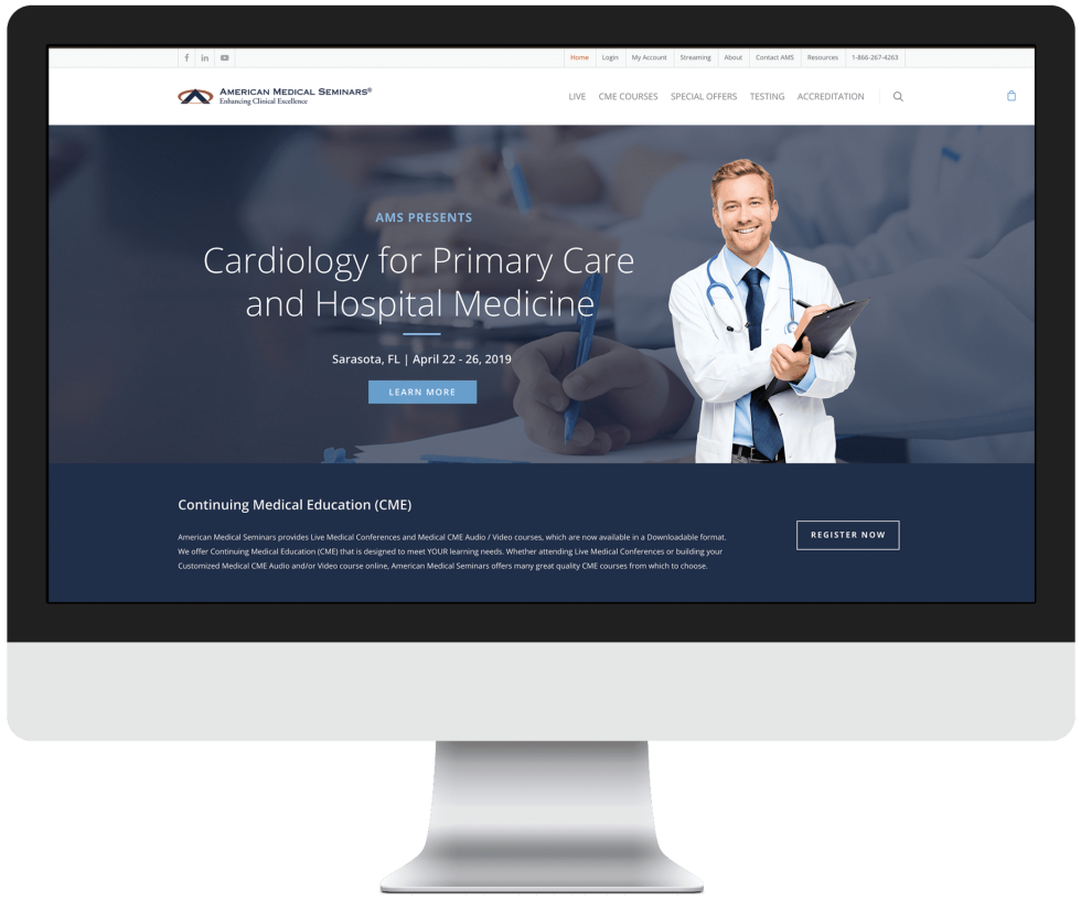 Image of American Medical Seminars website with the text Cardiology for primary care and hospital medicine
