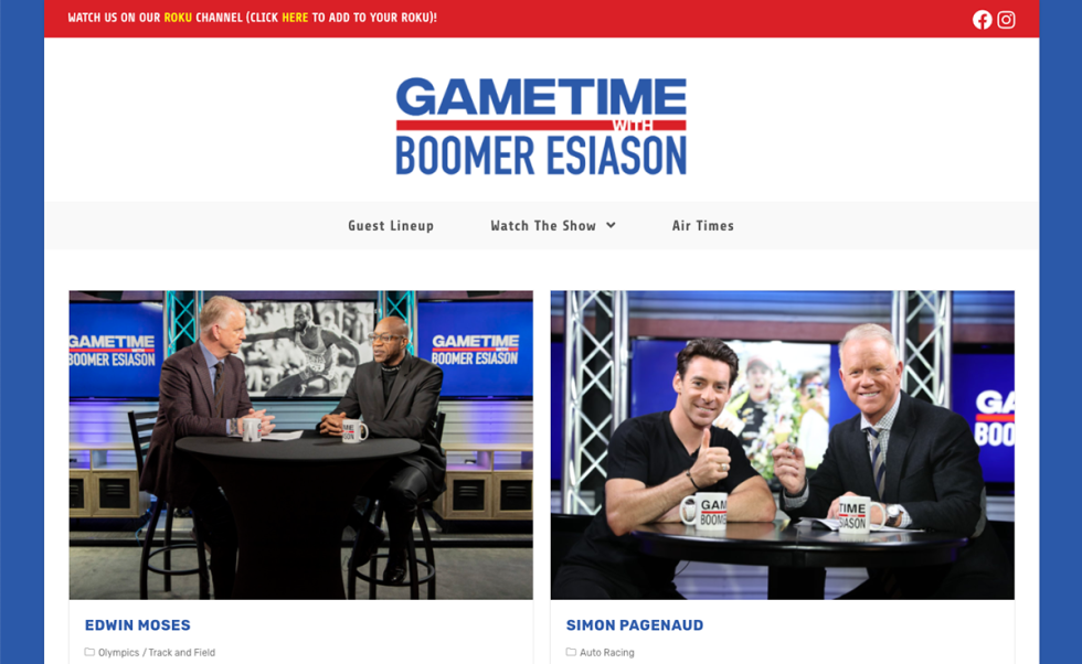 """Image of two men sitting at a table with text """"Gametime with Boomer Esiason"""""""