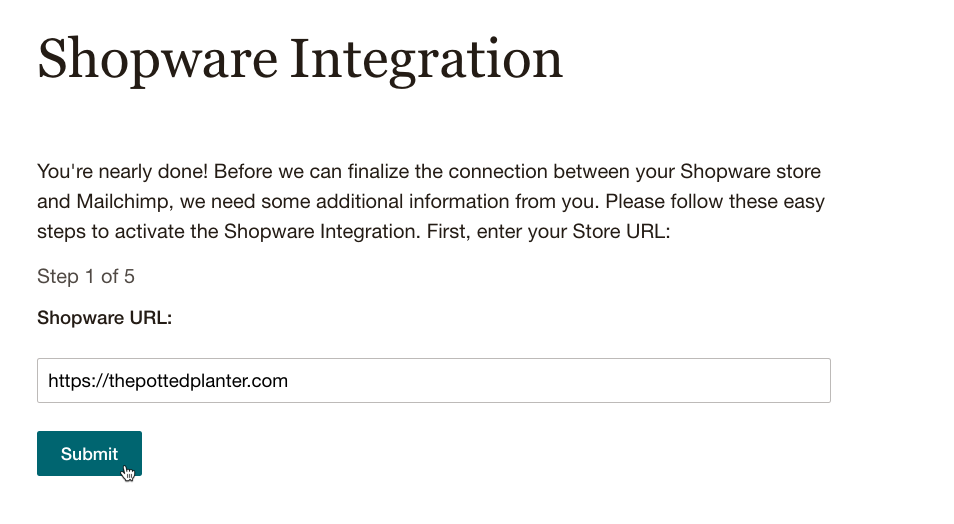 Cursor Clicks - Submit - Shopware URL
