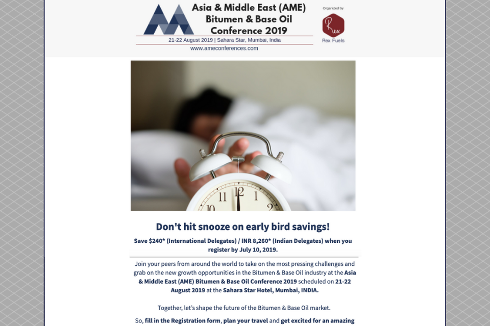 "Email marketing example advertising signups for an event. Image header of silhouette in bed reaching to 'snooze' alarm clock. Text under, ""Don't hit snooze on early bird savings"" and more text about event information and RSVP links."
