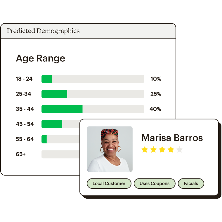 An example of Predicted Demographics for your audience, and a specific customer's profile.