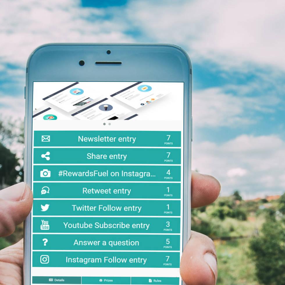 Image of phone displaying RewardsFuel integration