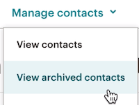 Example image of the manage contacts dropdown with the cursor on View archived contacts