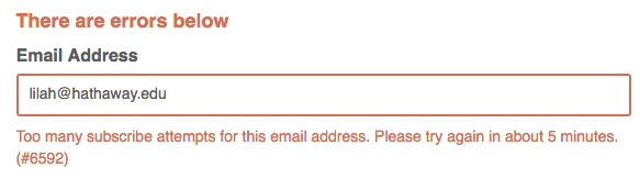 "Screenshot of the ""too many subscribe attempts"" error on a signup form."