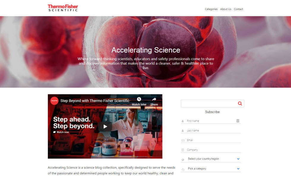 Website homepage screenshot featuring logo and hyperlinks at top of page against white background. Image immediately below of red and white cells under that have been captured under microscope. Text overlays image in white. Below image, a video on the left against white background. To the right of video, autofill boxes in order to sign up for newsletter.