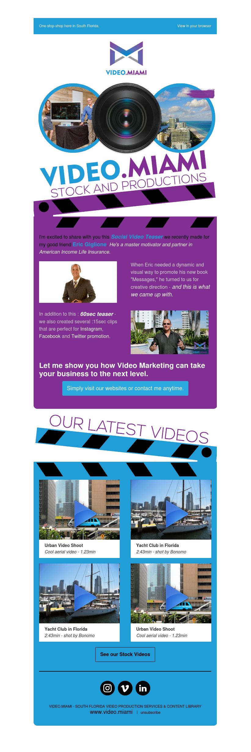 Image of an newsletter with the text Video Miami