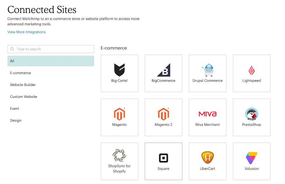 Mailchimp Connected Sites Page