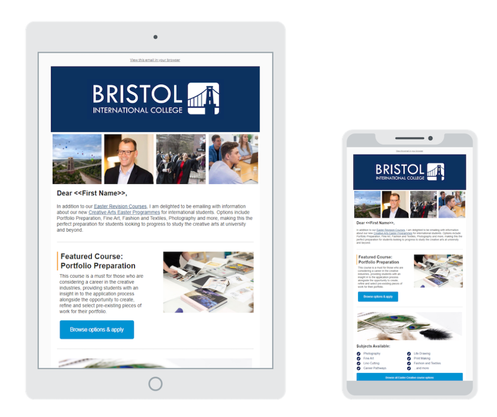 Image of Bristol International College site on a tablet and phone.