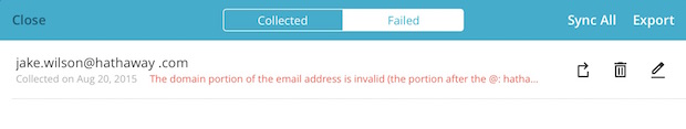 Écran d'un abonné dans la section des adresses invalides de l'application avec la raison du domaine (domain) invalide.